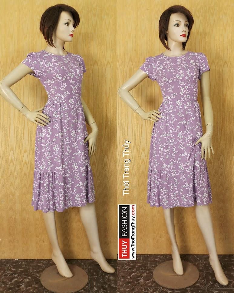 Váy midi công sở họa tiết hoa nhí màu tím V627 Thời Trang Thủy