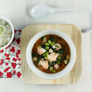 Miso Soup with Shrimp and Tofu.