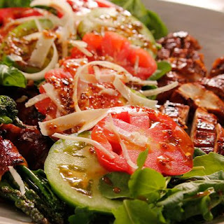 Chicken Salad with Bacon-Wrapped Greens.