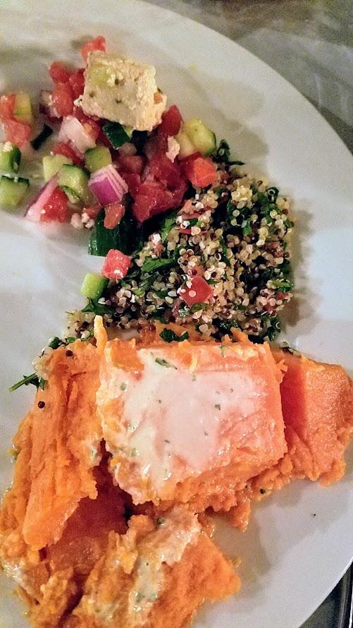 Aviv PDX Pop up course of SHLISHIYT that included super tabbouleh haze with quinoa, hemp, parsley, tomato, lemon; Israeli salad 'Yotvata' style with tomato, cucumber, red onion, non-dairy feta, sumac; and a sweet potato