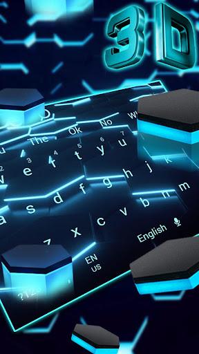 3D Live Blue Neon Hexagon Tech Keyboard 10002 screenshots 2