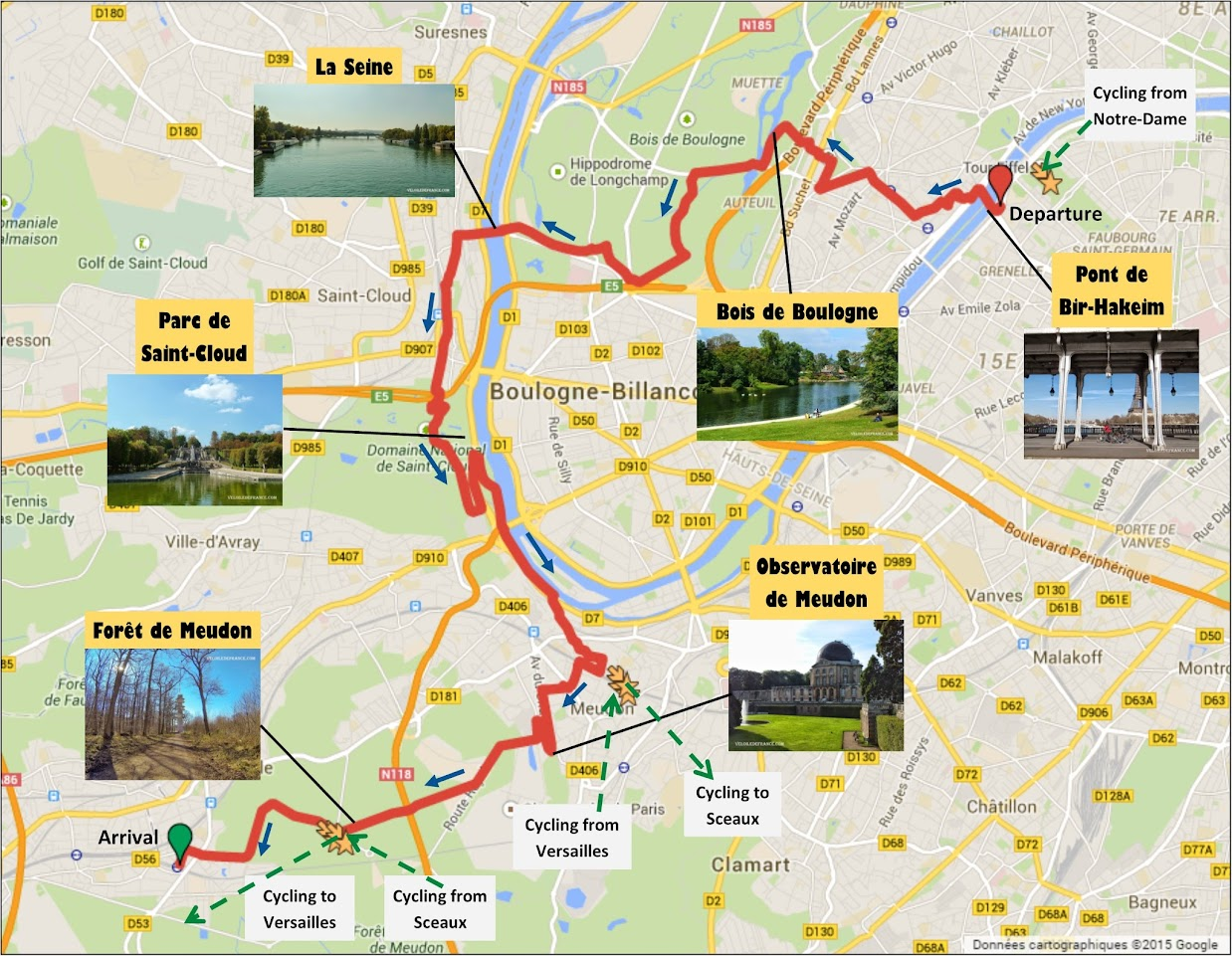 Cycling route map from the Eiffel Tower to the Meudon forest by veloiledefrance.com