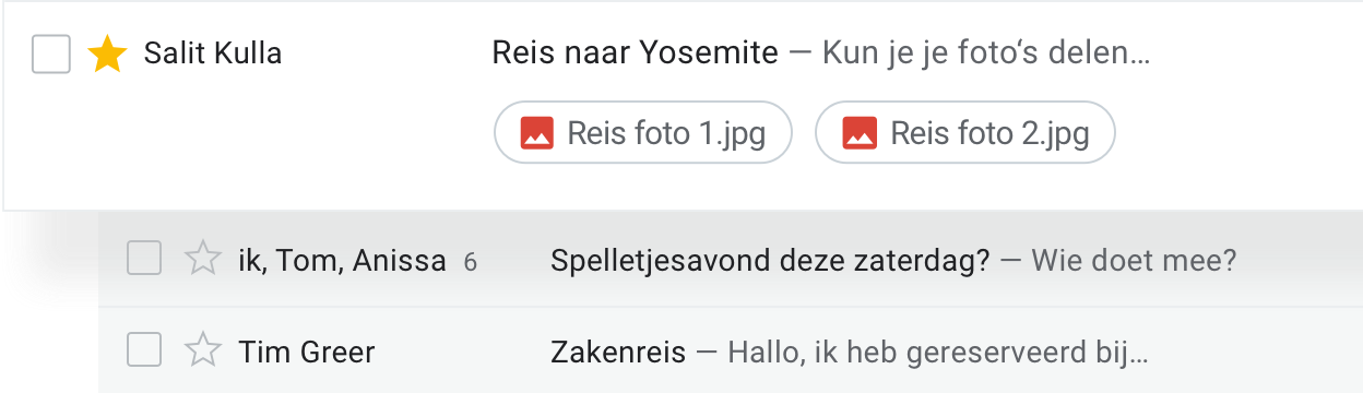 Onderneem actie vanuit de inbox