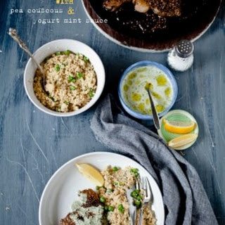 Dukkah-Crusted Lamb Chops with Yogurt Mint Sauce and Pea Couscous