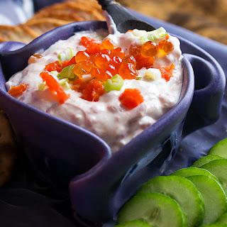 Caviar and Smoked Salmon Cream Cheese Dip.