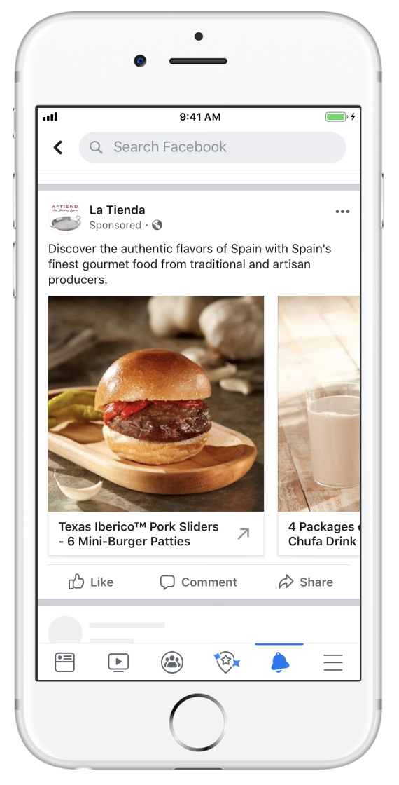 An example of a Facebook ad for ecommerce that utilizese a dynamic carousel.