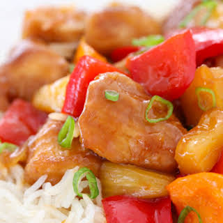 Sweet and Sour Chicken With Pineapple and Peppers.