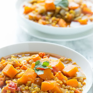 Easy Sweet Potato and Lentil Curry.