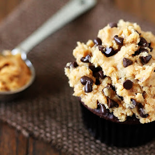 """Chocolate Cupcakes With Peanut Butter Cookie Dough """"Frosting""""."""