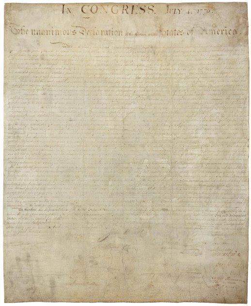 Anverso de la Declaración de Independencia de los Estados Unidos. Imagen: Archivo Nacional de Estados Unidos