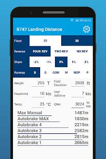 B747 Landing Distance Calculator - náhled