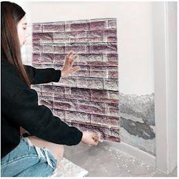 Tapet autoadeziv caramizi mov, 77 x 70 cm, spuma moale 3D