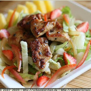 Chicken Medallions And Fruit Salad.