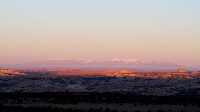 The La Sal Mountains before sunset