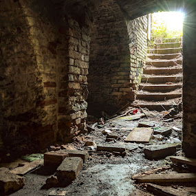 for light by Martin Namesny - Buildings & Architecture Decaying & Abandoned ( old, cellar, celar, mysterious, lock, vault, deserted, walls, stairs, cold, dark, castle, light, wall )
