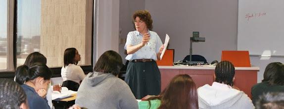 Photo: Sr. Mary Ann Stachow teaching theology at Xavier Univ., New Orleans, LA