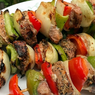 Roasted Garlic & Cracked Black Peppercorn Pork Kebabs Recipe