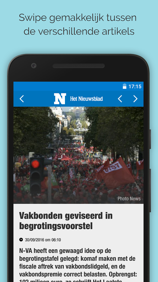 Nieuwsblad.be mobile: screenshot