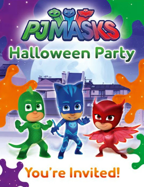 Free Printable PJ Masks Halloween Party Invitations