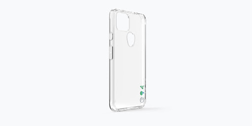 Angled view of the exterior of the Case-Mate Eco94™ Eco Clear Case for Google Pixel 5a (5G) showing its thin profile.