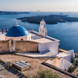Oia, Santorini Island, Greece by Carol Ward - Buildings & Architecture Places of Worship ( church, santorini island, greece, place of worship, oia, blue dome, island )