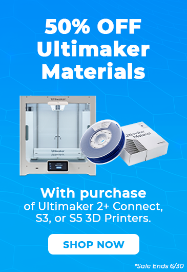 50% Off Ultimaker Materials with purchase of Ultimaker 2+ Connect, S3, or S5 3D printers.