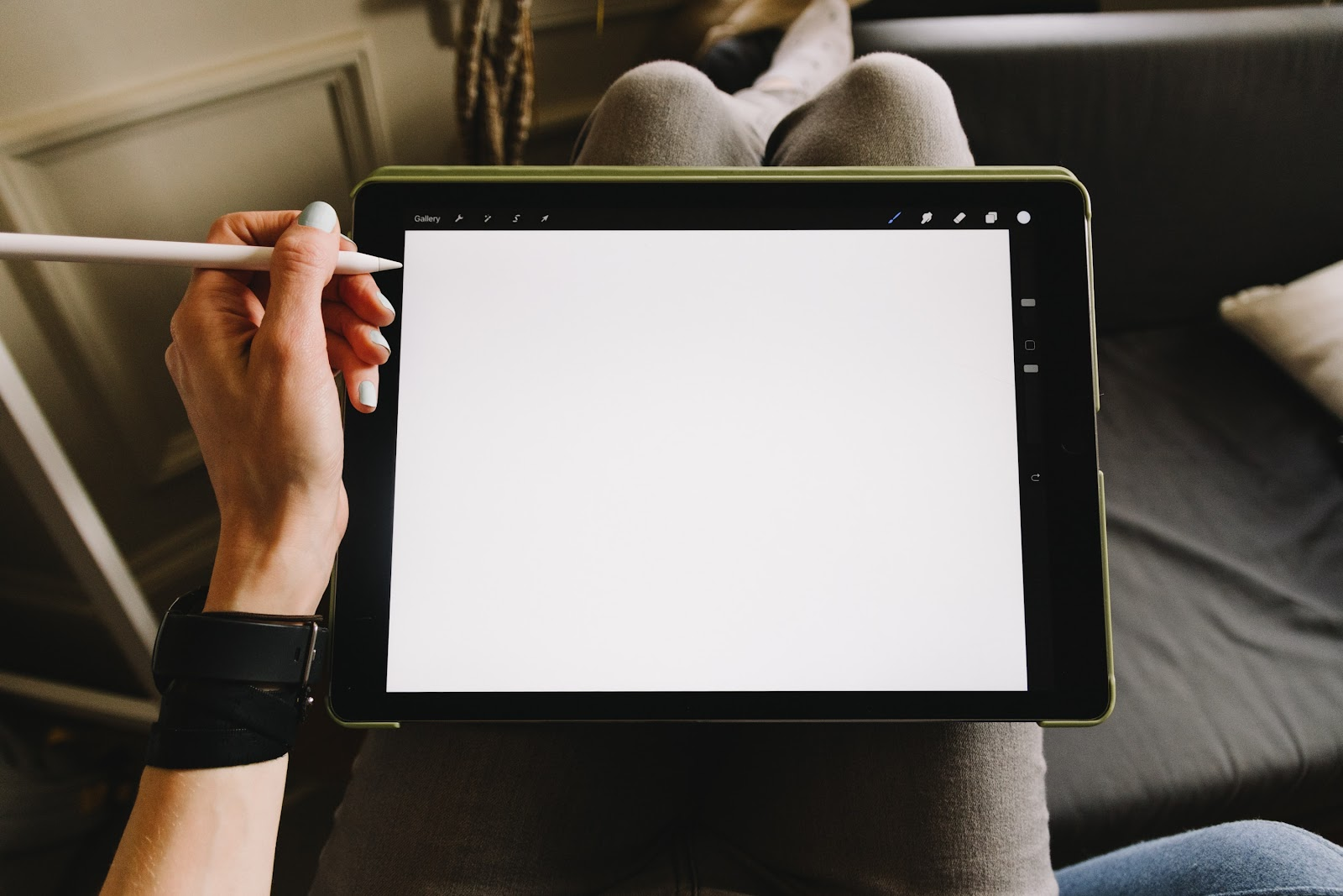 woman's hand and drawing tablet