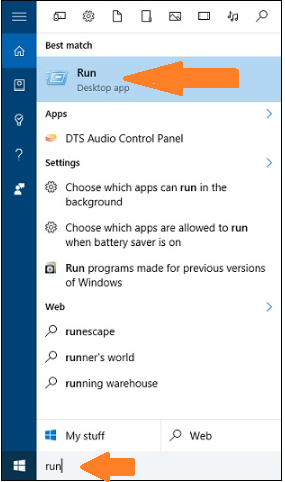 Open run dialog box With the help of Cortana