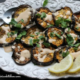 Roasted Eggplant with Tahini Appetizer.