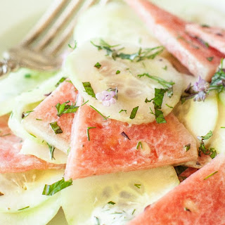 Watermelon Cucumber Salad with Herbed Yogurt Dressing