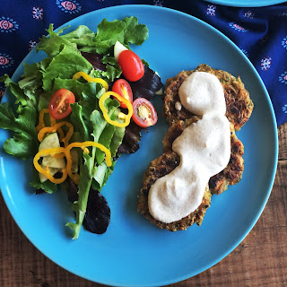 Zucchini-Carrot Fritters with Creamy Lemon Dressing.
