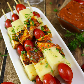 Tofu Kebabs with Spicy Tomato Peach Sauce