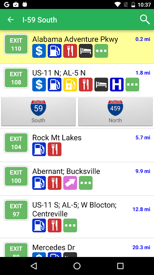 iExit Interstate Exit Guide- screenshot