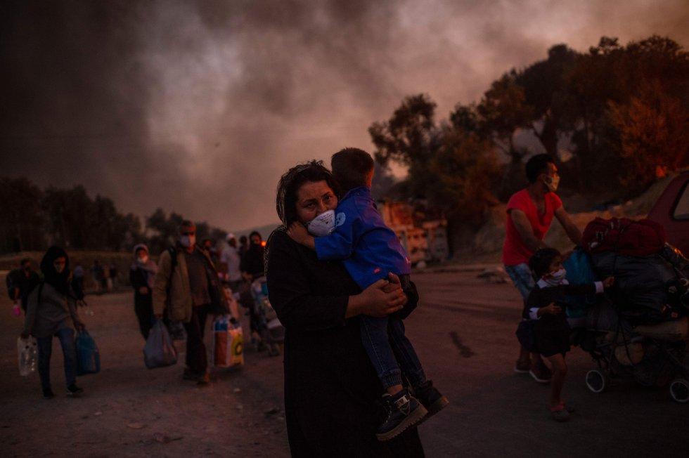 incendio en el mayor campo de refugiados de Europa