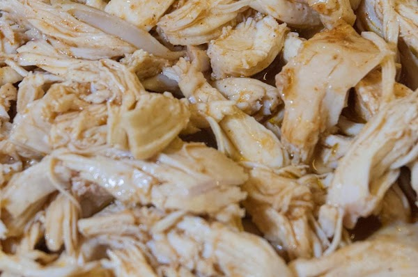Defat the liquid and mix with the shredded chicken.