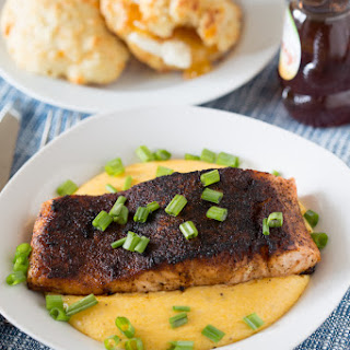Chile Rubbed Salmon over Cheddar Grits