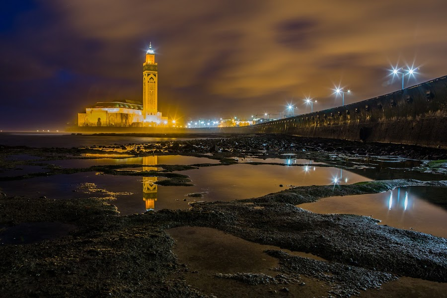 Hassan II mosque by Anas Nasmi - Buildings & Architecture Other Exteriors ( casablanca, canon 6d, reflection, long exposure, seaside, architecture, morocco, hassan ii mosque )