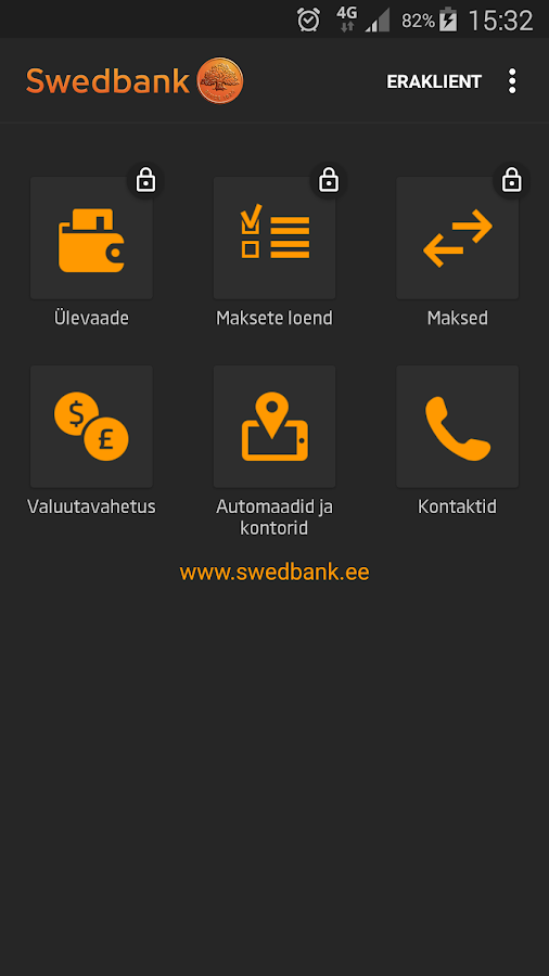 Swedbank Eestis- screenshot