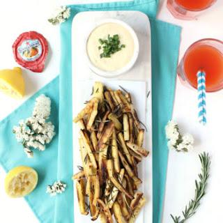 Grilled Rosemary Parsnip Fries w/ Easy Garlic Aioli