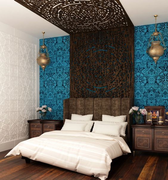 Moroccan-Style Wall Behind Bed