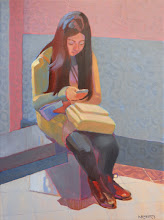 "Photo: ""Texting at the Louvre"", oil on canvas, 16"" x 12"", © Nancy Roberts. Private collection."