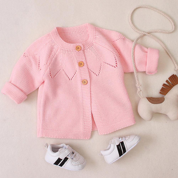 Baby Girl Solid Color Long Sleeve Cardigan