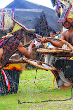 Photo: Two warrior Caci dancers shared the same sentiment toward the sacred game. Although the hit might injure one of them, the friendship would be unharmed. When the blood spills, all are happy as it indicates a glimpse of a successful harvest in the following season. http://www.indonesia.travel