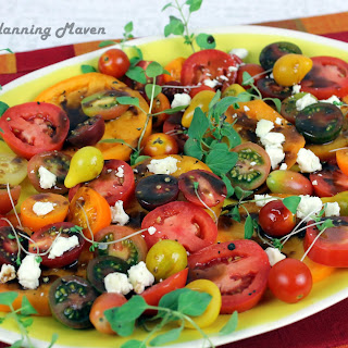 Heirloom Tomatoes 'n Goat Cheese with Balsamic Drizzle