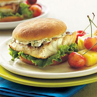 Grilled Grouper Sandwiches with Tartar Sauce.