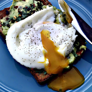 Avocado Cilantro Lime Toast with Poached Egg.