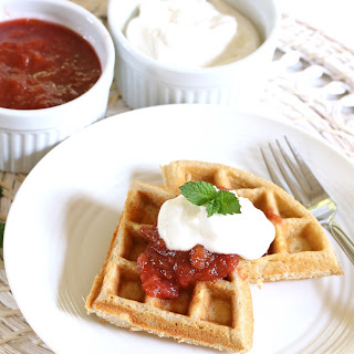 Oat & Buckwheat Waffles with Rhubarb Compote & Vanilla Cream (Gluten Free)