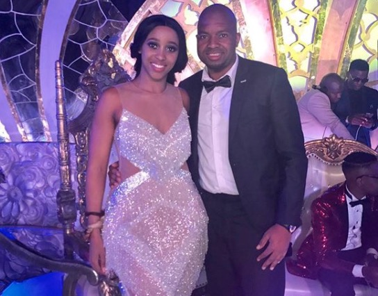 Sbahle Mpisane and Itumeleng Khune at her umemulo.