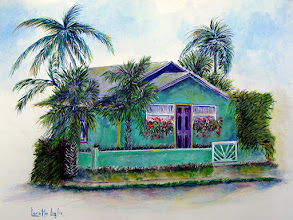 Photo: Green Cottage Painting This is a Florida scene I just had to paint. After passing this little beach cottage a few times I grabbed the camera and started painting as soon as I came home. It is now available on auction at a very reasonable opening bid. http://www.lorettaluglioart.com/blog-2/loretta-luglio-studio/ #painting  #auction #florida #watercolor #cottage  #beach