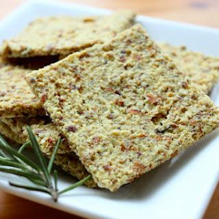 Raw Vegan Cheesy Almond Rosemary Crackers.
